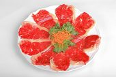Beef steak on white dish and vegetable. poster