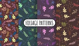 Set Of Abstract Leaves And Herbs Retro Seamless Patterns. Cozy Boho Templates Of Stock Illustrations