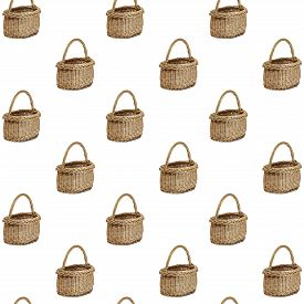 Seamless Pattern Of Rustic Wicker Shopping Basket Isolated Over White Background. Empty Wicker Baske