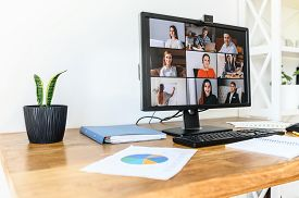 Online Meeting, Video Call, Video Conference. App For Video Connection On Pc In Office, Web Shots Of