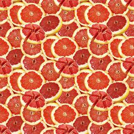 Grapefruit Citrus Fruit Cut Slice Seamless Pattern Texture Background