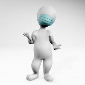 Fatty Man With Mask Resigning To The Situation. Pose Showing Whatever Gesture. 3d Rendering