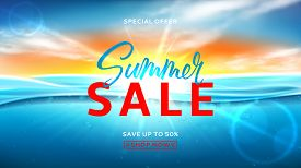 Summer Sale Background Template. Vector Illustration With Deep Underwater Ocean Scene. Realistic Bac