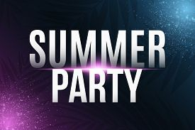 Summer Party Cover. Greeting Card. Modern Banner With Neon Light Effect And Tropical Palm Tree. Vect