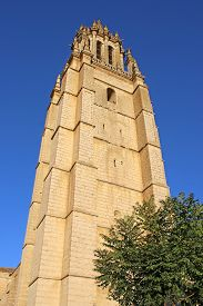 Tower And Spire Of Ampudia Church In  Spain