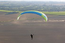 Paraglider Flying Wing At Milk Hill In Wiltshire