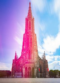 Exterior Of The Ulm Cathedral, Germany, Europe. Church Facade. Travel And Religion.