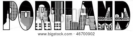 Portland Oregon Downtown City Skyline Text Outline Black and White Silhouette Illustration poster