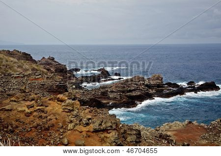 View of Maui's rocky coastline near Kahakuloa poster