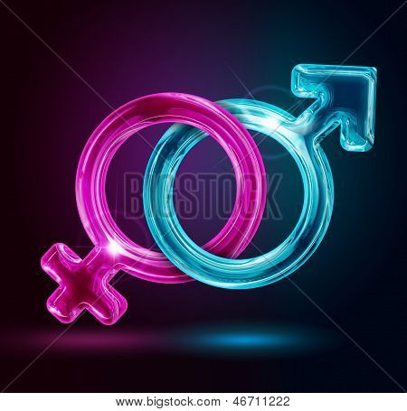 male and female gender symbols on black background poster