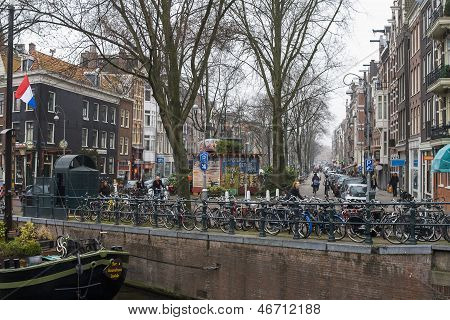 Amsterdam With Bikes And Graffiti