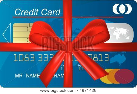 Credit Card With Red Ribbon