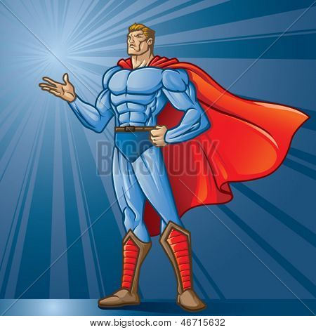 Generic superhero figure standing with open hand.  Layered & easy to edit. See portfolio for similar images. Place your logo!