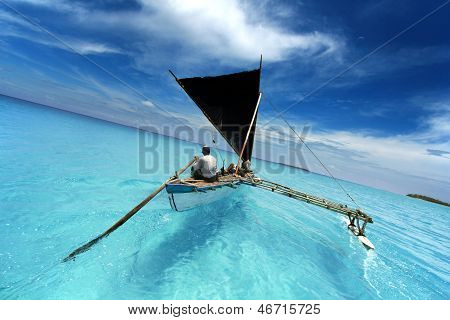 rowing boat sailing in a tropical lagoon poster