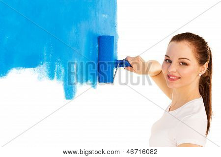 The Woman With The Roller In Hand It Is Isolated On White Background