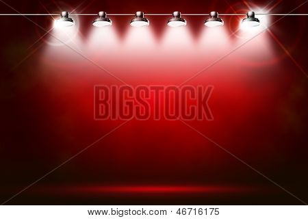 red background with spotlights