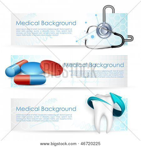 illustration of Healthcare and Medical with medicine and stethoscope