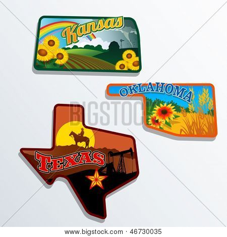Retro state shape illustrations of Kansas, Oklahoma, and Texas