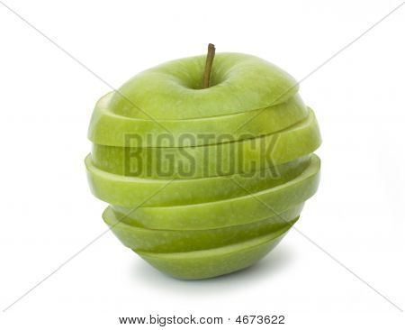 Cut Green Apple On A White Background