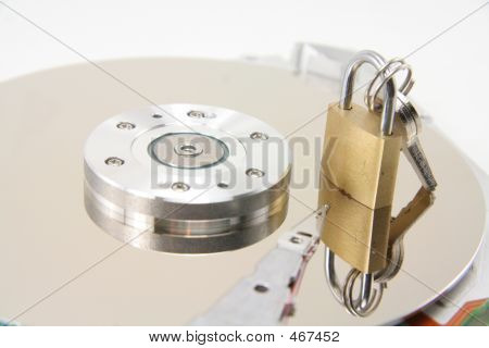 Hard Drive Details And Lock, Concept Of Data Security