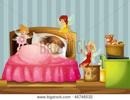 Abbildung eines jungen Mädchens mit Feen in ihrem Zimmer zu schlafen