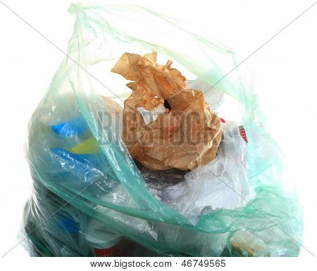 Green Rubbish Bag With Garbage