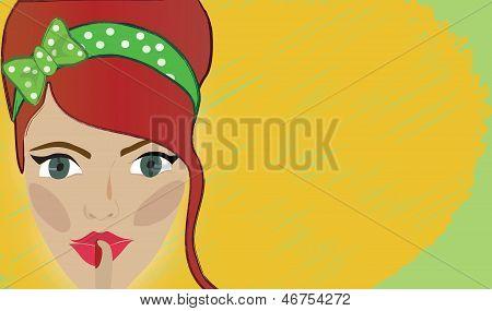 Retro woman shh