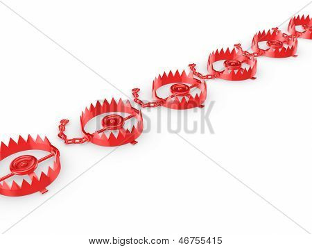 Red traps isolated on white.