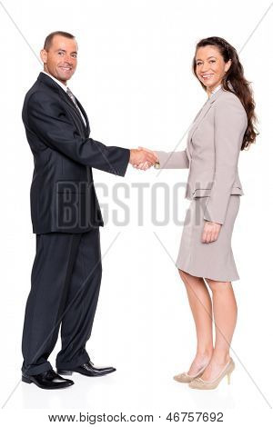 Business man and woman in front of white background