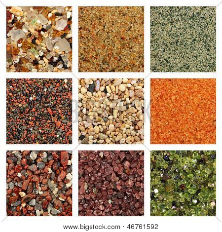 Global collage of sand samples. There is one square centimeter of sand on every sample photo. Sand samples row by row from left to right: 1. Glass sand from Kauai Hawaii 2. Dune sand from the Gobi Desert 3. Quartz sand with green glauconite from Estonia 4 poster