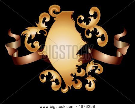Vector Illustration Of Elegance Retro Gold Shield