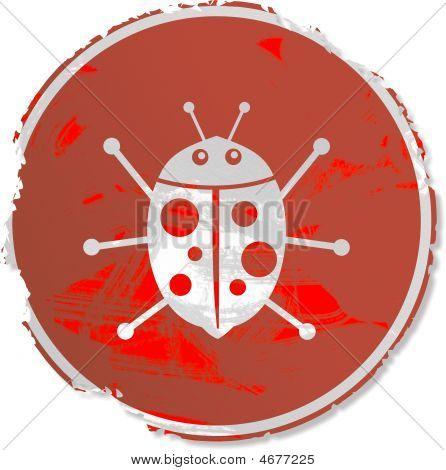 Grunge style ladybug sign isolated on white. poster