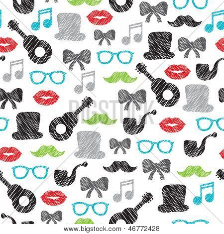 Seamless hipster element illustration mustache music background pattern in vector