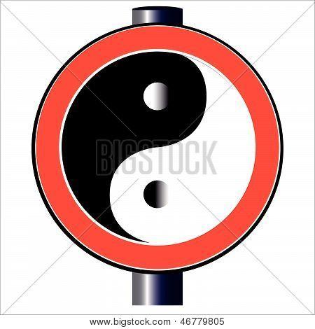 Yin Yang Traffic Sign