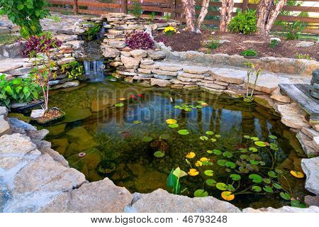 Decorative koi pond in a garden