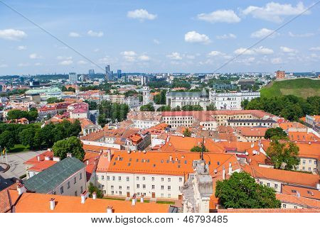 Panoramic view of Vilnius old town and castle