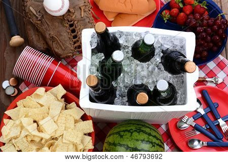 Overhead view of a picnic table, with ice chest full of beer, bowl of chips, watermelon, strawberries, grapes, corn chips, plastic cups, hot dog buns and baseball equipment.