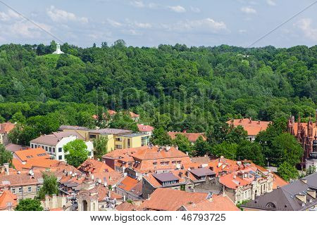 Panoramic view of hill three crosses in Vilnius