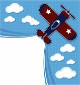 funny airplane cartoon with blank contrail for copy space on blue background and clouds poster
