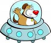 Cartoon illustration of a dog in a spaceship. poster