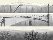 Horizontal abstract banners of flock birds in morning city and forest in pale tone. poster