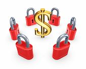 Red locks around symbol of dollar.Isolated on white.3d rendered. poster