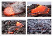 Basaltic pahoehoe lava flow in Hawaii. Kilauea volcano Pu'u O'o vent. poster
