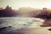 View of Ipanema Beach in the evening Brazil poster