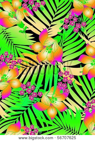 Tropical Flowers With Palms.
