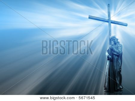 Jesus Holding A Cross On Blue Background