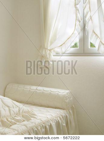 Retro white bedroom