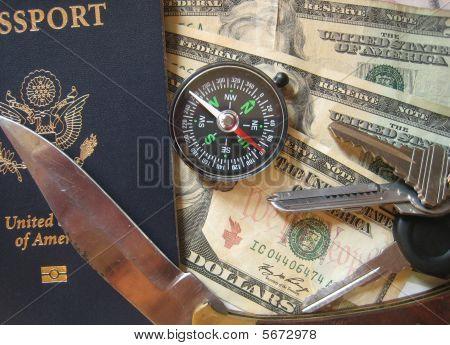 Passport Compass Keys Knife Cash 01