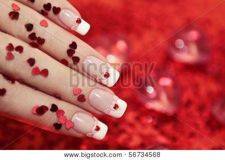 Manicure with hearts.