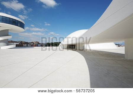 AVILES, SPAIN - AUGUST 10: Exterior view of the Niemeyer Center on August 10, 2011 in Aviles, Spain. It is designed by Oscar Niemeyer and the Center offers a  multidisciplinary program dedicated to diverse art and cultural events.